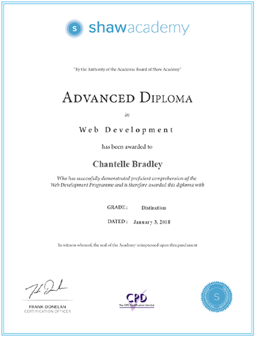 Advanced Diploma in Web Development - Grade: Distinction (Score: 96.7%)