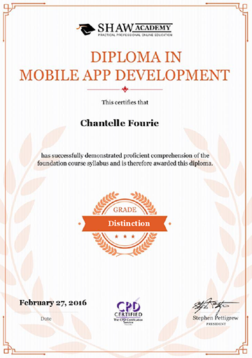 Diploma in Mobile App Development - Grade: Distinction