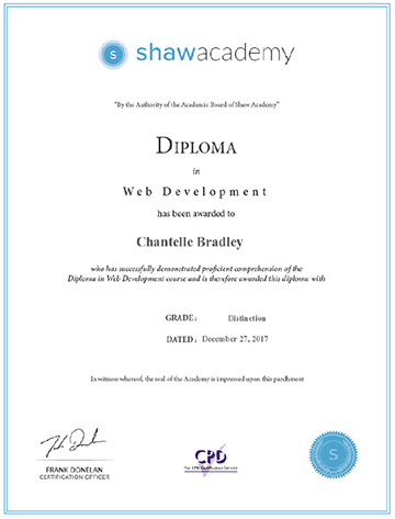 Diploma in Web Development - Grade: Distinction (Score: 94%)