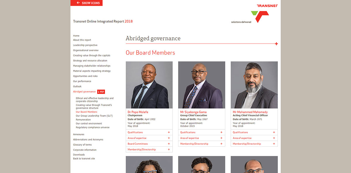 Transnet Online Integrated Report 2018 | Image 1099