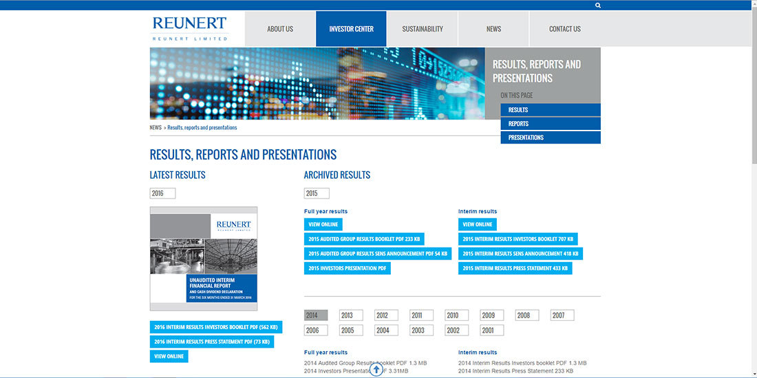 Reunert Limited | Results and annual reports